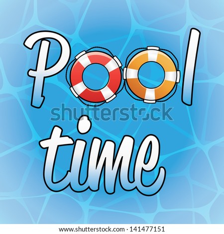Pool time background poster with water and big copy