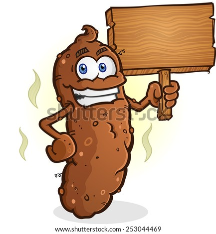 Poop Cartoon Character Holding a Blank Wooden Sign