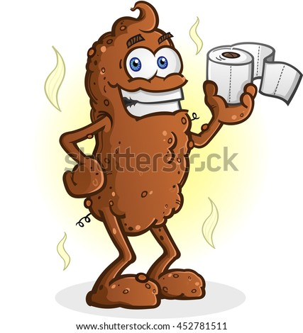 Poop Cartoon Character Standing and Holding Toilet Paper - stock vector