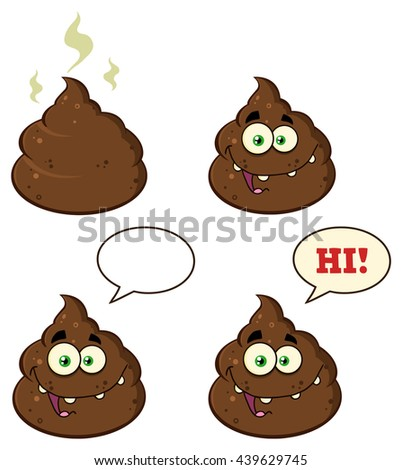 Poop Cartoon Character. Vector Illustration Isolated On White Background Collection Set - stock vector