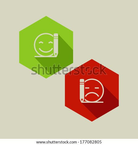 poor or good review flat vector icons - stock vector