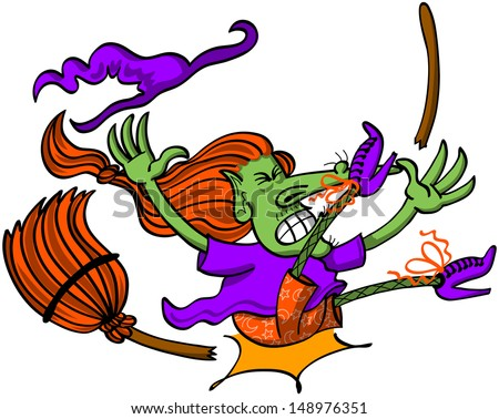 Poor witch in trouble at the moment of falling down, having a spectacular accident in her broomstick and hitting land violently with her buttocks while clenching her eyes and teeth - stock vector
