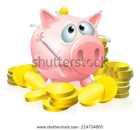 Poorly piggy bank concept, a piggy bank surrounded by gold coins sweating with a fever and causing a thermometer to burst - stock vector