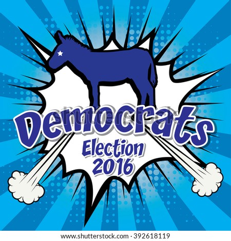 Pop Art American Democrat Mule Vector Illustration. Election 2016. Vote for America. - stock vector