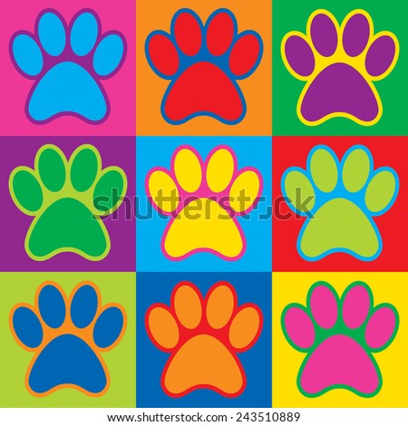 Pop Art animal paw prints in a colorful checkerboard design.  - stock vector