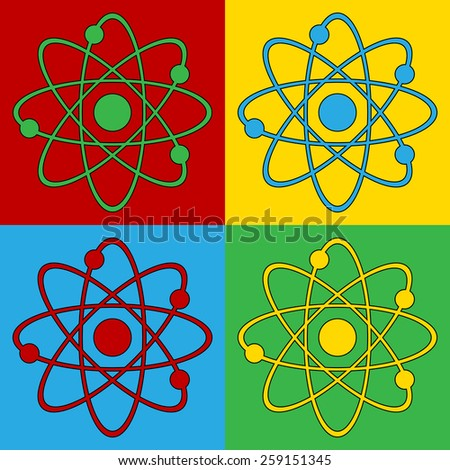 Pop art atom symbol icons. Vector illustration. - stock vector