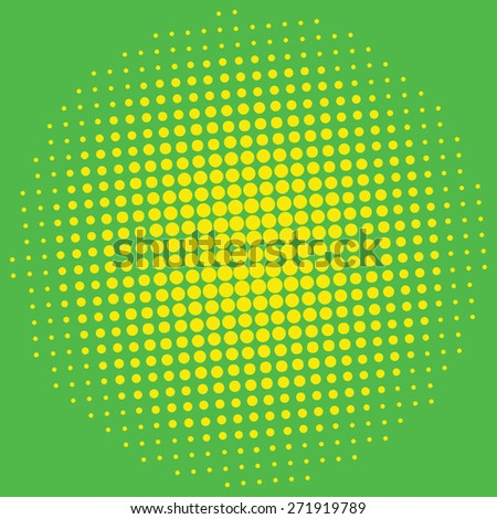 Pop art background. Halftone yellow dots on green background. - stock vector