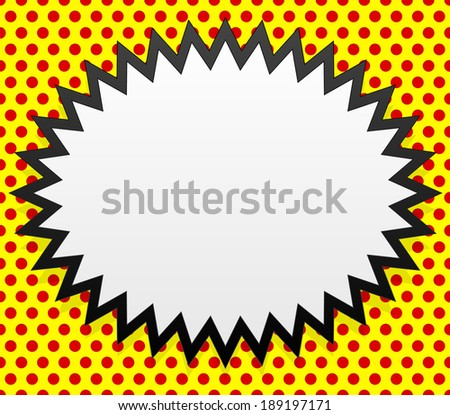 Pop-art badge on seamless dotted background - stock vector