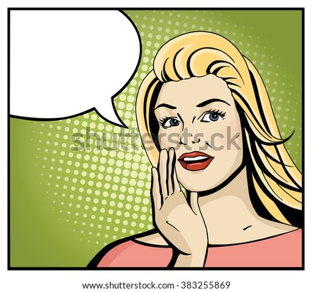 Pop art blonde woman smile and speak. Comic girl hold hand near open month with blank speech bubble. Vintage hand drawn vector illustration isolated on green halftone background. - stock vector