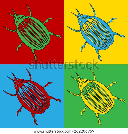Pop art bug symbol icons. Vector illustration. - stock vector