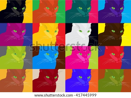 Pop Art Cats.Crazy Vector Pop Art Cats Poster.Colorful Cats Illustration.