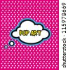 Pop Art cloud bubble on dot background - stock vector