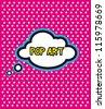 Pop Art cloud bubble on dot background - stock vector