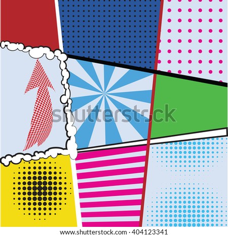 Pop art collection sets of nine bright backgrounds for design projects, packaging, tableware, signage, postcards. Comics pop-art style template with dots, lines, signs elements, vector illustration - stock vector