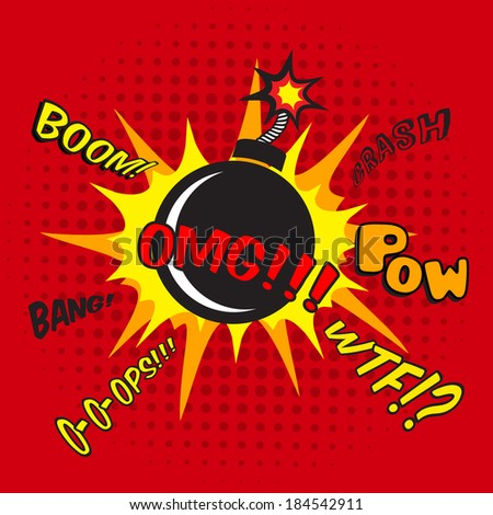 Pop art comic bomb explosion decorative halftone poster template vector illustration - stock vector
