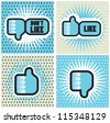 Pop art Comic Book Style Banners with Thumbs up button - like button Thumbs down button - don't like button - stock