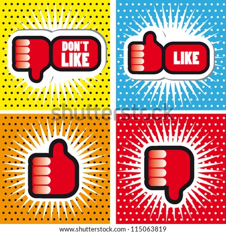 Pop art Comic Book Style Banners with Thumbs up button - like button Thumbs down button - don't like button - stock vector