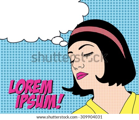 Pop Art / comic style. Vector illustration of thinking woman with the speech bubble. Poster/ card with place for text. - stock vector