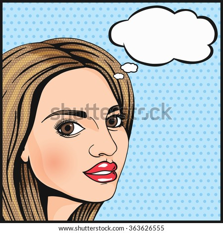 Pop Art cute girl thinking and smiling with thought cloud for your message. Modern woman wondering. Comics style dotted vector illustration. - stock vector