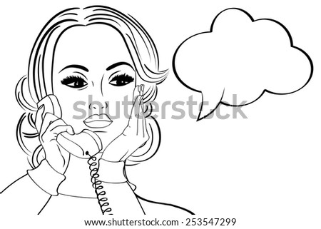 pop art cute retro woman in comics style talking on the phone, vector illustration