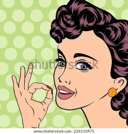 pop art cute retro woman in comics style, vector illustration - stock vector