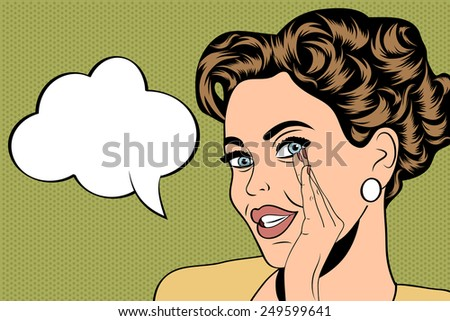 pop art cute retro woman in comics style with message, vector illustration - stock vector