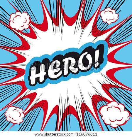 Pop Art explosion Background Hero! - stock vector