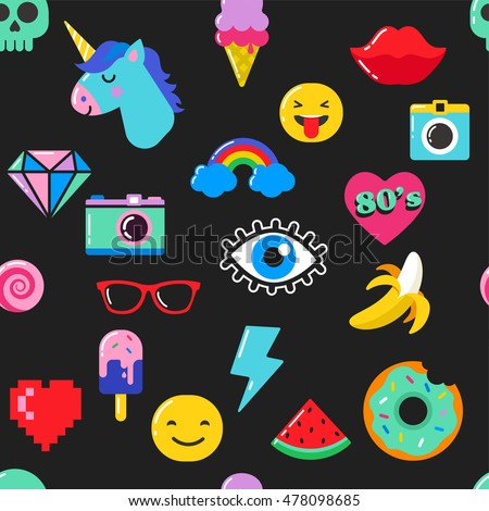 Pop art fashion chic seamless pattern with patches, pins, badges and stickers