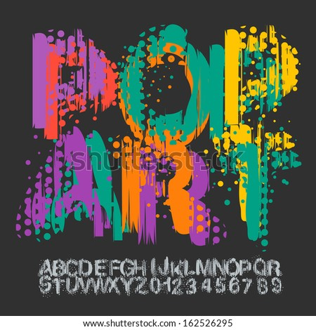 Pop art font, vector illustration.  - stock vector