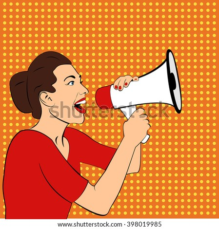 Pop art girl with megaphone. Woman with loudspeaker.Girl announcing discount or sale.Shopping time.Protest, meeting, feminism, woman rights, woman protest, girl power. Pop art background,Special offer - stock vector