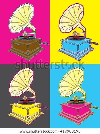 Pop Art Gramophone - stock vector