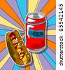 Pop art graphic background with hot dog and beer can, junk food conceptual graphic - stock vector