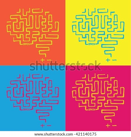 Pop art hand drawn side view human brain illustration - stock vector