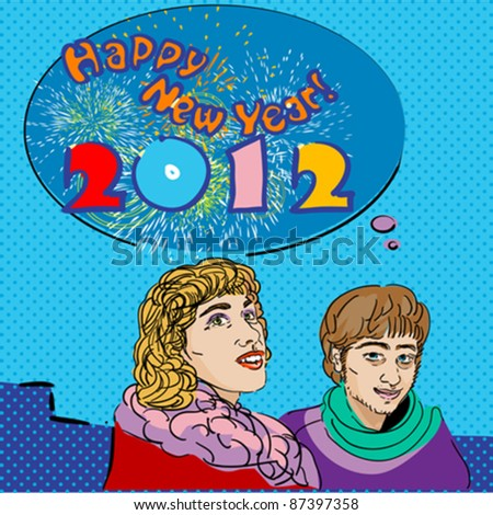 pop art Happy New Year 2012 card with speech bubble and fireworks - stock vector