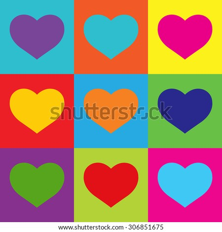 Pop Art Heart Shapes.Vector - stock vector