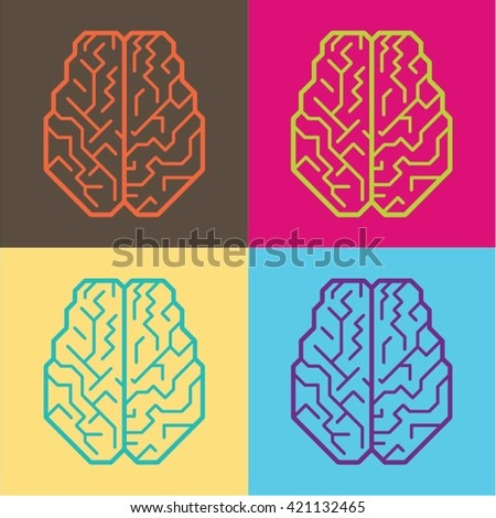 Pop Art Human Brain icon - stock vector