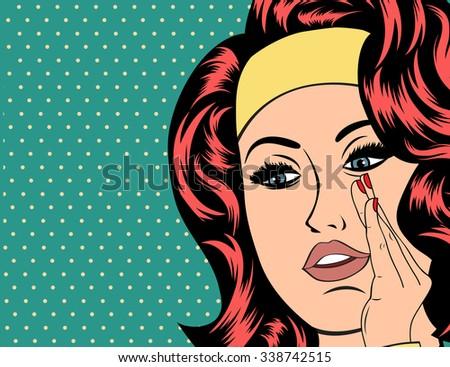 Pop Art illustration of girl . Vintage advertising poster. - stock vector