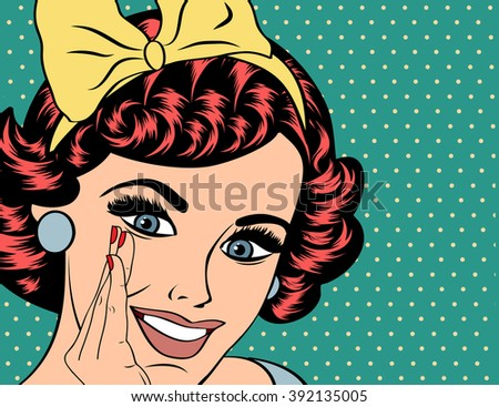 Pop Art illustration of girl with the red hair. Pop Art girl. Party invitation. Birthday greeting card.Vintage advertising poster. Fashion woman with speech bubble. - stock vector