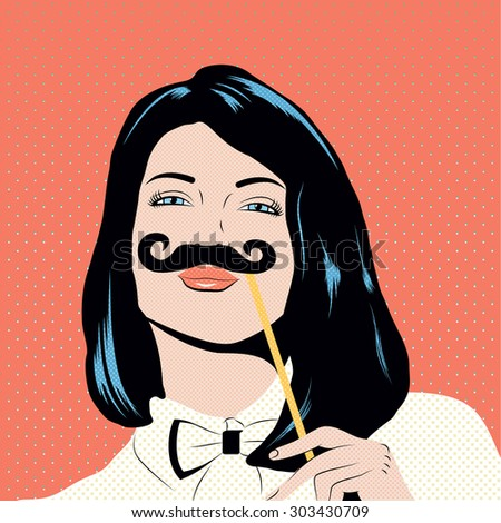 Pop art illustration with girl holding mustache mask. Woman with black hair and blue eyes in comics style pin up. - stock vector