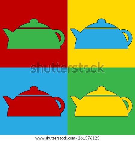 Pop art kettle symbol icons. Vector illustration. - stock vector
