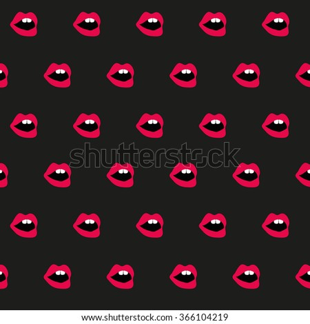 Pop art lips background open mouth with teeth