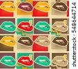 pop art lips copies seamless...