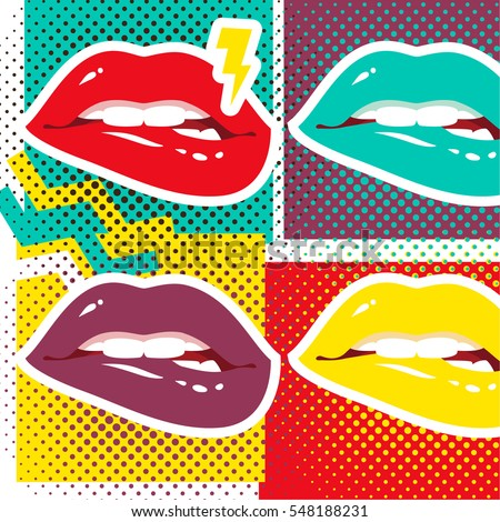 Pop art lips Retro style art print