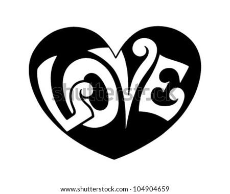 Pop Art Love Heart - Retro Clipart Illustration - stock vector
