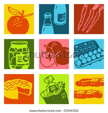 pop-art objects - food and market - stock vector