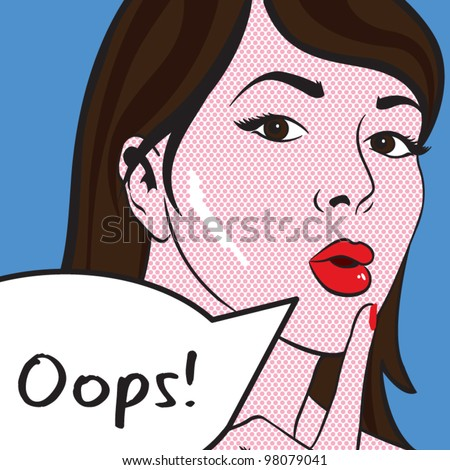 Pop Art - Oops Lady Vector artwork, text can be removed - stock vector