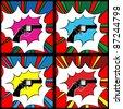 Pop art pistol, clip art illustration, icons - stock vector