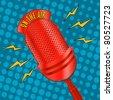 Pop art radio microphone - stock vector