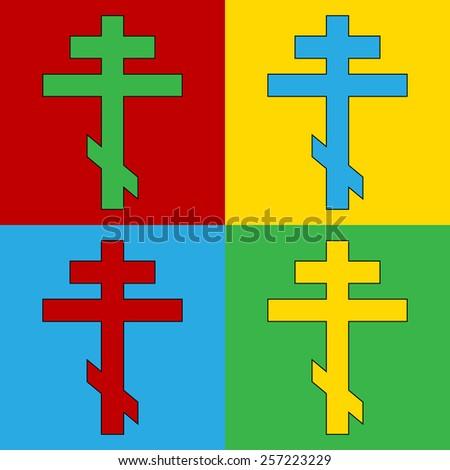 Pop art religious orthodox cross symbol icons. Vector illustration. - stock vector