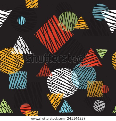 Pop art retro seamless vector background pattern (black) - stock vector